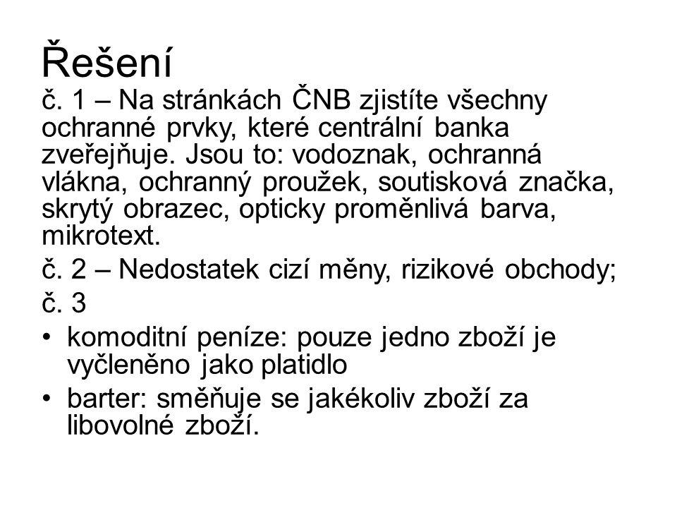 Řešení č. 1 – Na stránkách ČNB zjistíte všechny ochranné prvky, které centrální banka zveřejňuje.