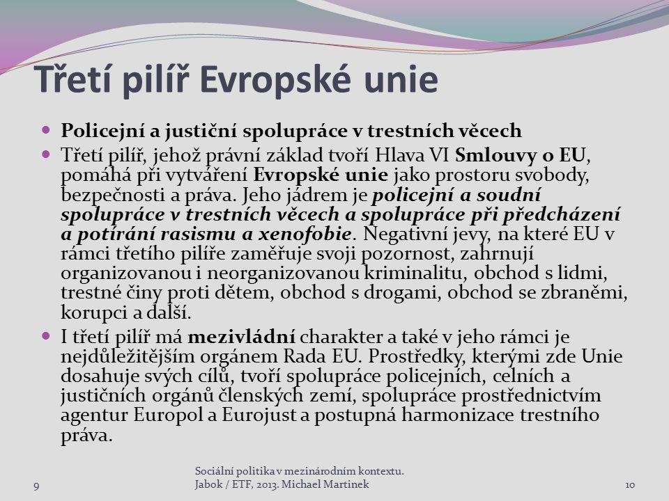 Třetí pilíř Evropské unie Policejní a justiční spolupráce v trestních věcech Třetí pilíř, jehož právní základ tvoří Hlava VI Smlouvy o EU, pomáhá při