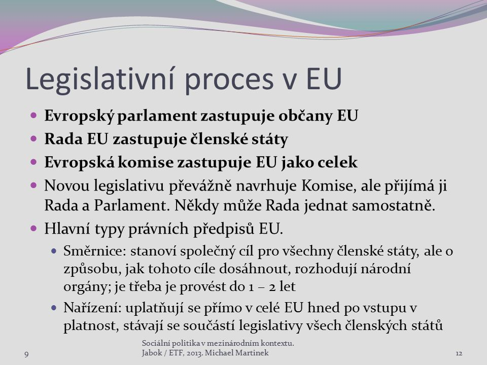Legislativní proces v EU Evropský parlament zastupuje občany EU Rada EU zastupuje členské státy Evropská komise zastupuje EU jako celek Novou legislat