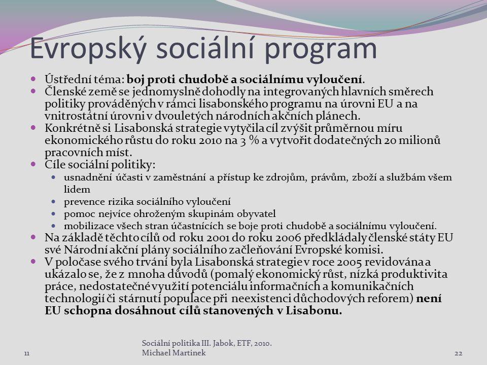 Evropský sociální program Ústřední téma: boj proti chudobě a sociálnímu vyloučení. Členské země se jednomyslně dohodly na integrovaných hlavních směre