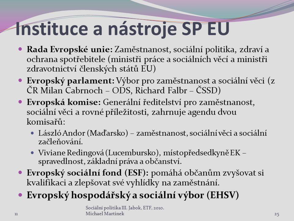 Instituce a nástroje SP EU Rada Evropské unie: Zaměstnanost, sociální politika, zdraví a ochrana spotřebitele (ministři práce a sociálních věcí a mini