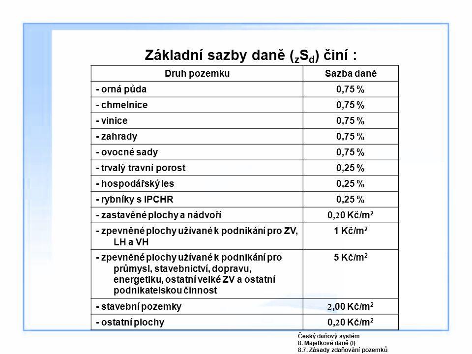 Základní sazby daně ( z S d ) činí : Druh pozemkuSazba daně - orná půda0,75 % - chmelnice0,75 % - vinice0,75 % - zahrady0,75 % - ovocné sady0,75 % - t