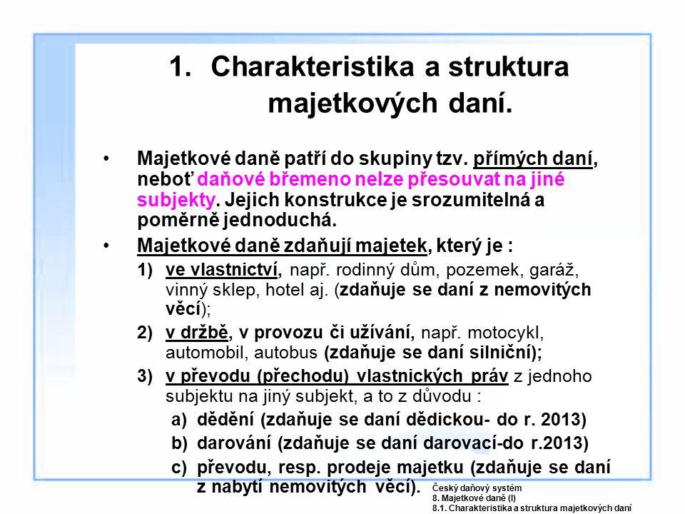 Koeficient pro obec (Ko) – dle počtu obyvatel v obci Výše koeficientuPočet obyvatel 1,0do 1000 1,4nad 1000 do 6000 1,6nad 6000 do 10 000 2,0nad 10 000 do 25 000 2,5nad 25 000 do 50 000 3,5nad 50 000, Františkovy Lázně, Luhačovice, Poděbrady, Mariánské Lázně 4.5 (5,0) Praha Výpočet daně : D = ZD x v S d, kde : v S d = z S d x K Český daňový systém 8.