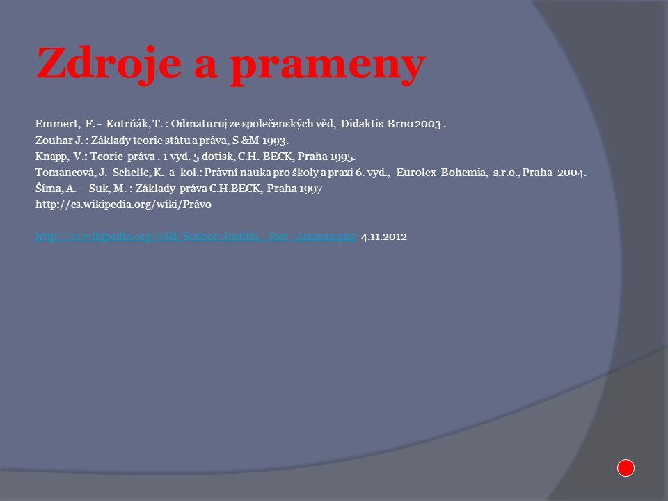 Zdroje a prameny Emmert, F. - Kotrňák, T. : Odmaturuj ze společenských věd, Didaktis Brno 2003. Zouhar J. : Základy teorie státu a práva, S &M 1993. K