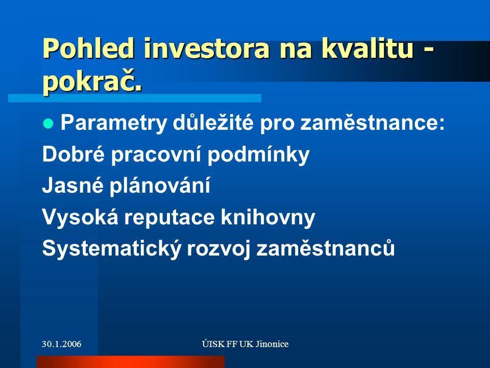 30.1.2006ÚISK FF UK Jinonice Pohled investora na kvalitu - pokrač. Parametry důležité pro zaměstnance: Dobré pracovní podmínky Jasné plánování Vysoká