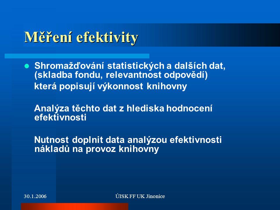 30.1.2006ÚISK FF UK Jinonice Měření efektivity Shromažďování statistických a dalších dat, (skladba fondu, relevantnost odpovědí) která popisují výkonn