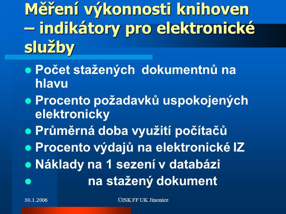30.1.2006ÚISK FF UK Jinonice Měření výkonnosti knihoven – indikátory pro elektronické služby Počet stažených dokumentnů na hlavu Procento požadavků us