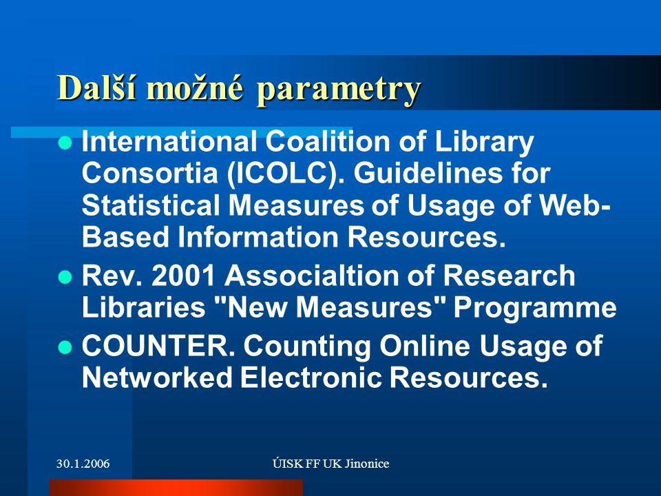 30.1.2006ÚISK FF UK Jinonice Další možné parametry International Coalition of Library Consortia (ICOLC).