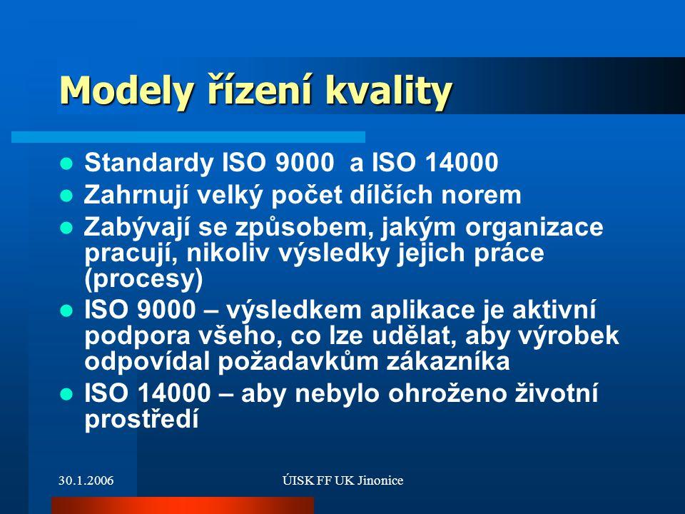 30.1.2006ÚISK FF UK Jinonice Modely řízení kvality Standardy ISO 9000 a ISO 14000 Zahrnují velký počet dílčích norem Zabývají se způsobem, jakým organ