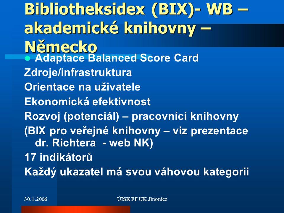 30.1.2006ÚISK FF UK Jinonice Bibliotheksidex (BIX)- WB – akademické knihovny – Německo Adaptace Balanced Score Card Zdroje/infrastruktura Orientace na