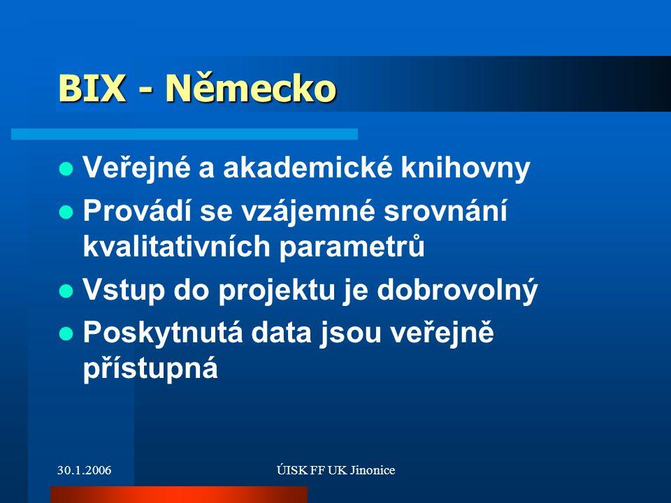 30.1.2006ÚISK FF UK Jinonice BIX - Německo Veřejné a akademické knihovny Provádí se vzájemné srovnání kvalitativních parametrů Vstup do projektu je do