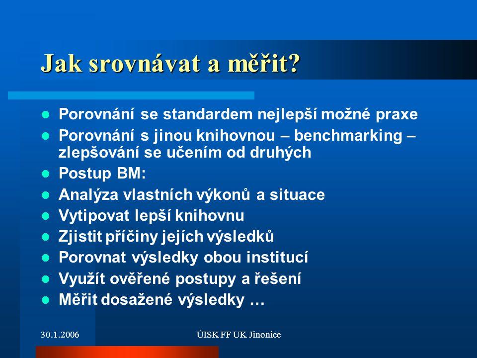 30.1.2006ÚISK FF UK Jinonice Jak srovnávat a měřit? Porovnání se standardem nejlepší možné praxe Porovnání s jinou knihovnou – benchmarking – zlepšová