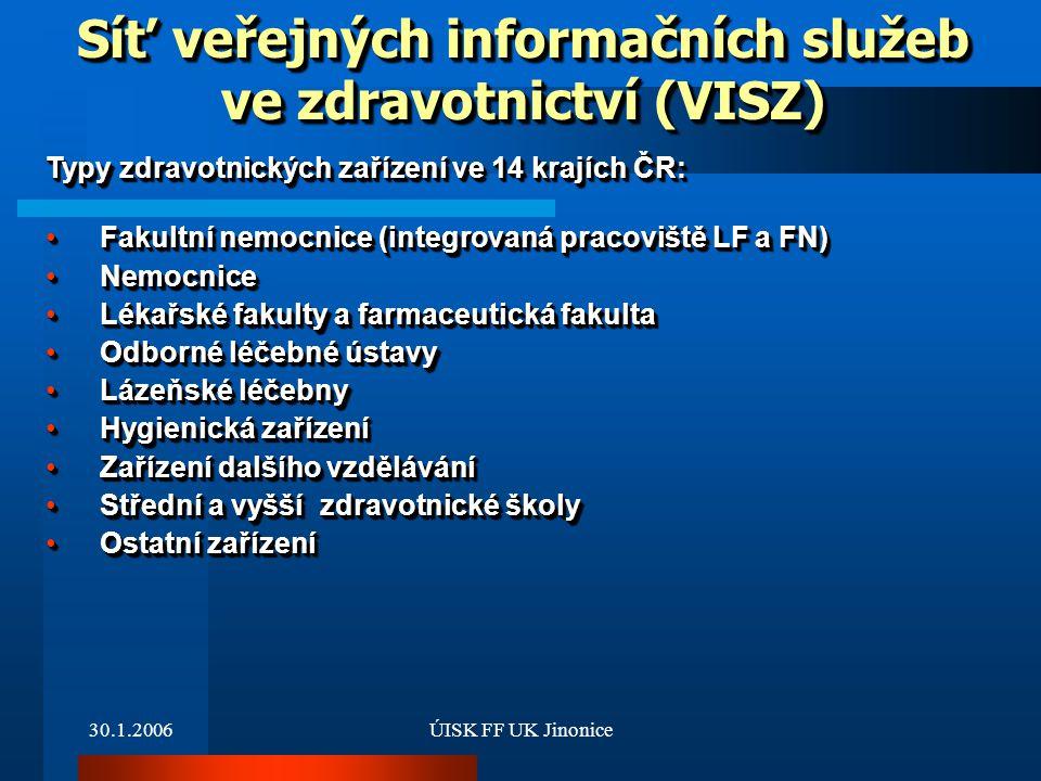 30.1.2006ÚISK FF UK Jinonice Typy zdravotnických zařízení ve 14 krajích ČR: Fakultní nemocnice (integrovaná pracoviště LF a FN)Fakultní nemocnice (int