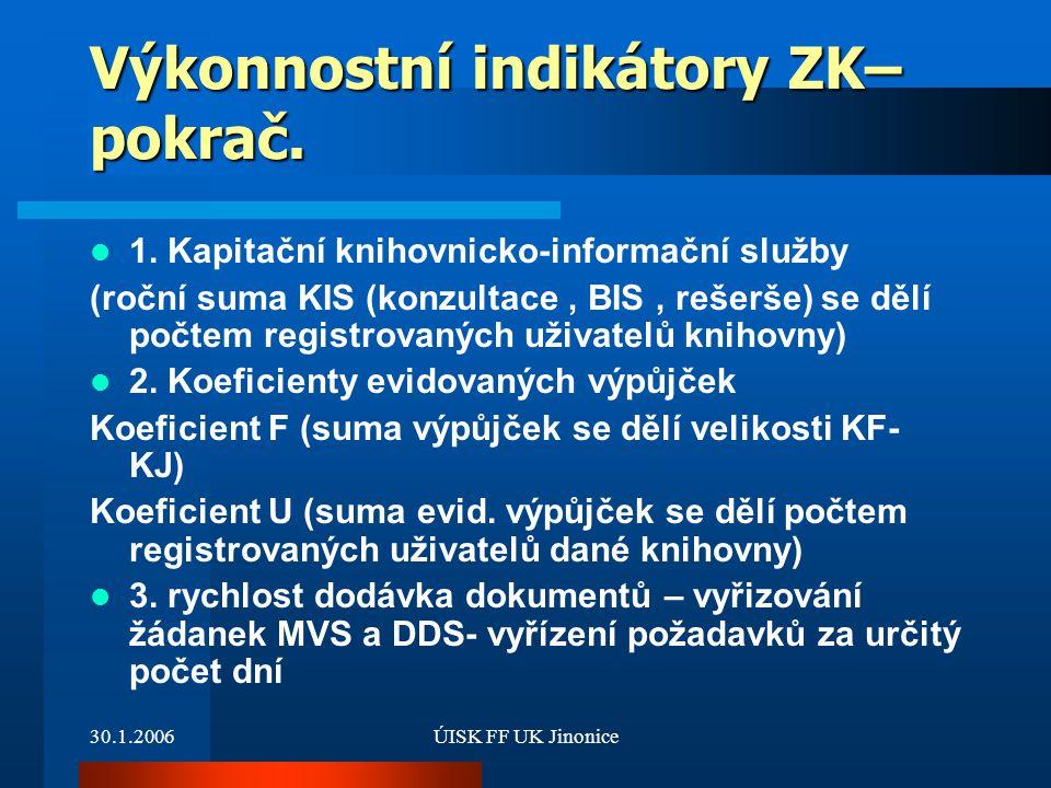 30.1.2006ÚISK FF UK Jinonice Výkonnostní indikátory ZK– pokrač. 1. Kapitační knihovnicko-informační služby (roční suma KIS (konzultace, BIS, rešerše)