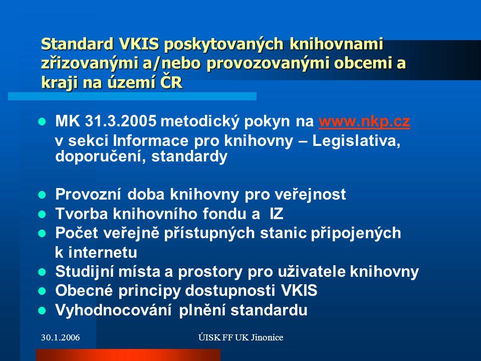 30.1.2006ÚISK FF UK Jinonice Standard VKIS poskytovaných knihovnami zřizovanými a/nebo provozovanými obcemi a kraji na území ČR MK 31.3.2005 metodický