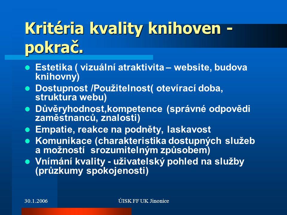30.1.2006ÚISK FF UK Jinonice Kritéria kvality knihoven - pokrač. Estetika ( vizuální atraktivita – website, budova knihovny) Dostupnost /Použitelnost(