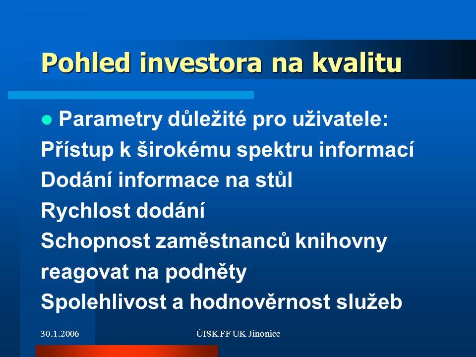 30.1.2006ÚISK FF UK Jinonice Pohled investora na kvalitu Parametry důležité pro uživatele: Přístup k širokému spektru informací Dodání informace na st