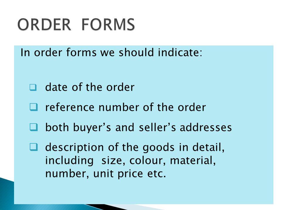 Order numberBuyer's addressNotesDate Goods Seller's address