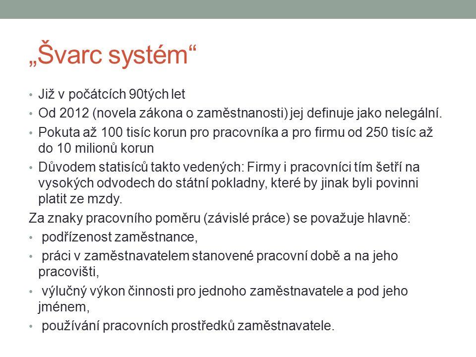 """""""Švarc systém"""" Již v počátcích 90tých let Od 2012 (novela zákona o zaměstnanosti) jej definuje jako nelegální. Pokuta až 100 tisíc korun pro pracovník"""