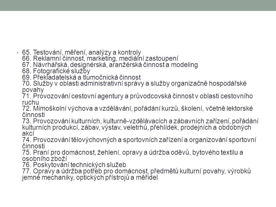 65. Testování, měření, analýzy a kontroly 66. Reklamní činnost, marketing, mediální zastoupení 67. Návrhářská, designérská, aranžérská činnost a model