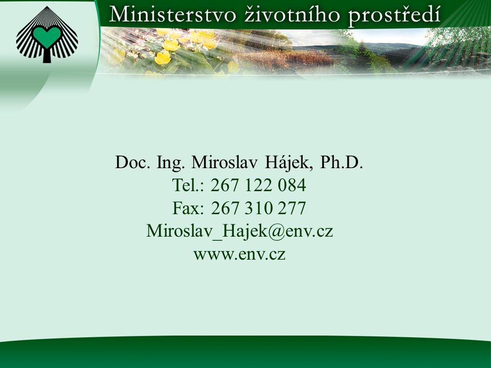 Doc. Ing. Miroslav Hájek, Ph.D. Tel.: 267 122 084 Fax: 267 310 277 Miroslav_Hajek@env.cz www.env.cz