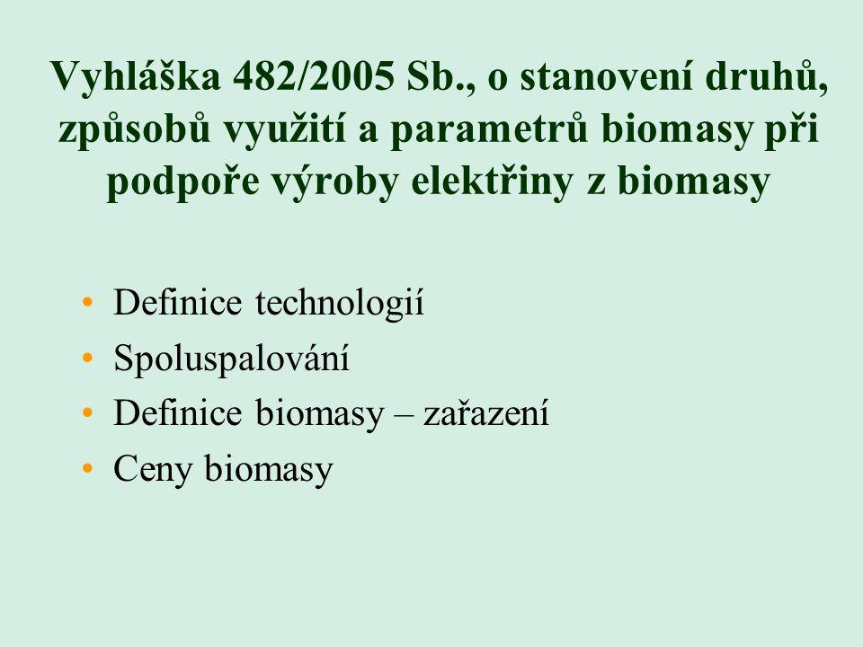 Definice technologií a spoluspalování Různé formy zpracování komunálních odpadů Využití fosilního paliva pro zažehnutí (vznětový motor se zápalným paprskem) Směs biomasy – nutné vykazovat každou kategorii zvlášť