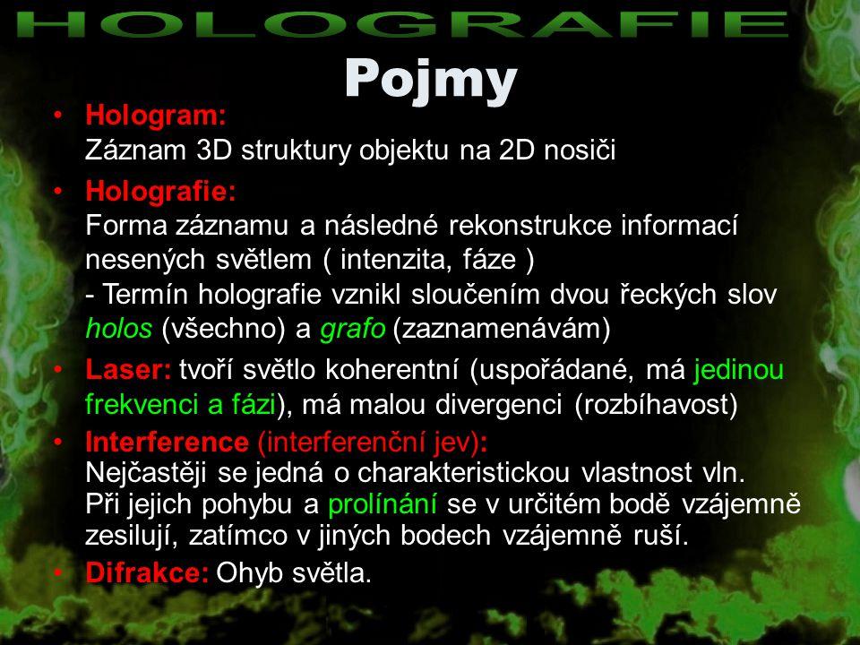 Hologram: Záznam 3D struktury objektu na 2D nosiči Holografie: Forma záznamu a následné rekonstrukce informací nesených světlem ( intenzita, fáze ) -