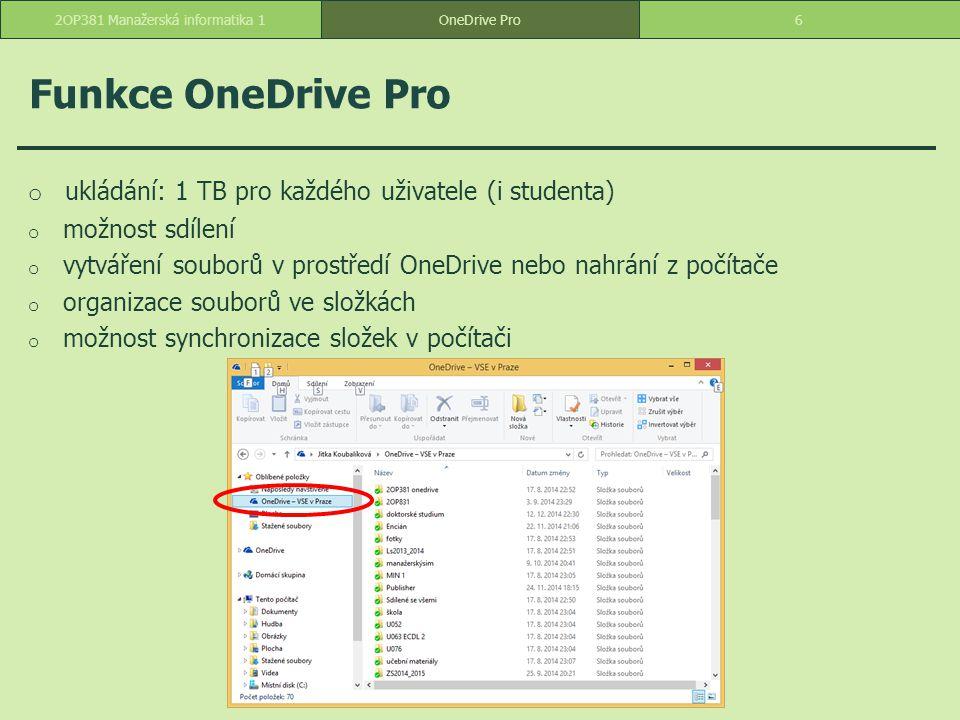 Word Web App o dokument ECDL zkopírovat ze sdílené složky a vložit do vlastních dokumentů o upravit -> upravit ve verzi Web App o písmo Arial, oranžová o přiřadit styl nadpis 1 a nadpis 2 o na první řádek vložit název ECDL a přidělit styl Název o zarovnat odstavce do bloku o číslování a odrážky 172OP381 Manažerská informatika 1OneDrive Pro