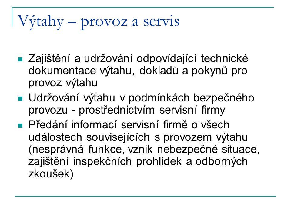 Výtahy – provoz a servis Zajištění a udržování odpovídající technické dokumentace výtahu, dokladů a pokynů pro provoz výtahu Udržování výtahu v podmín