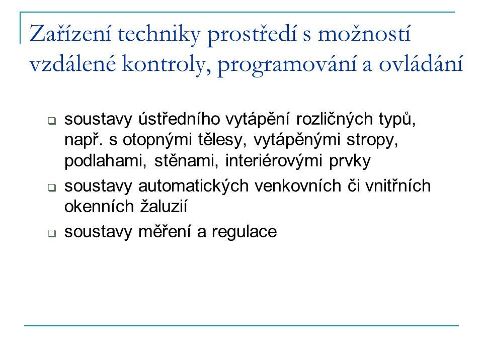 Zařízení techniky prostředí s možností vzdálené kontroly, programování a ovládání  soustavy ústředního vytápění rozličných typů, např. s otopnými těl