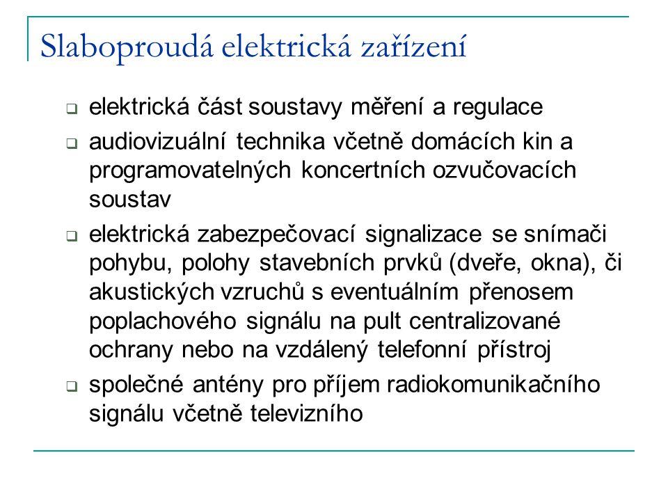 Slaboproudá elektrická zařízení  elektrická část soustavy měření a regulace  audiovizuální technika včetně domácích kin a programovatelných koncertn