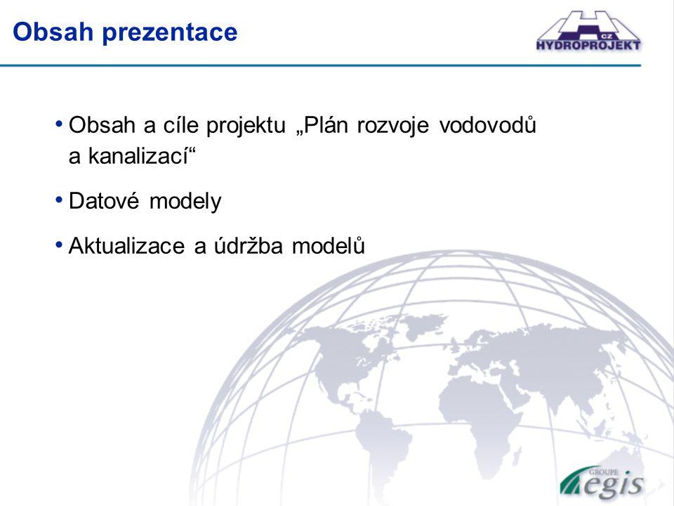 """Obsah prezentace Obsah a cíle projektu """"Plán rozvoje vodovodů a kanalizací Datové modely Aktualizace a údržba modelů"""