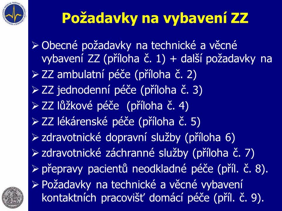 Požadavky na vybavení ZZ  Obecné požadavky na technické a věcné vybavení ZZ (příloha č. 1) + další požadavky na  ZZ ambulatní péče (příloha č. 2) 