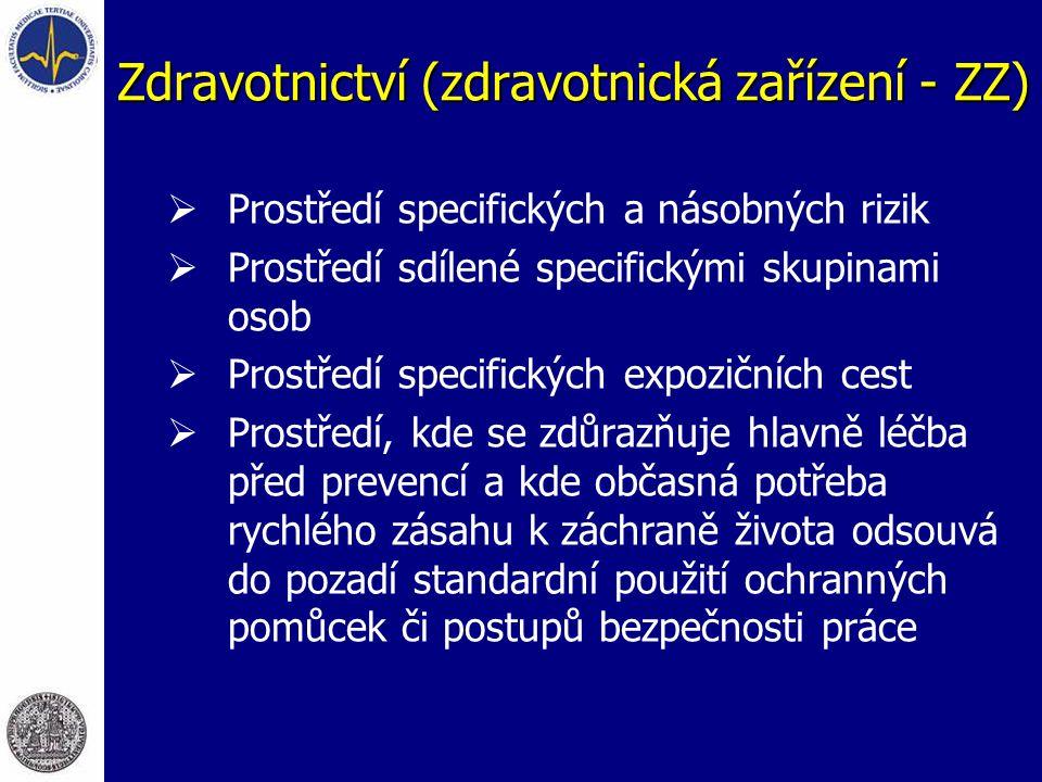 Zdravotnictví (zdravotnická zařízení - ZZ)  Prostředí specifických a násobných rizik  Prostředí sdílené specifickými skupinami osob  Prostředí spec