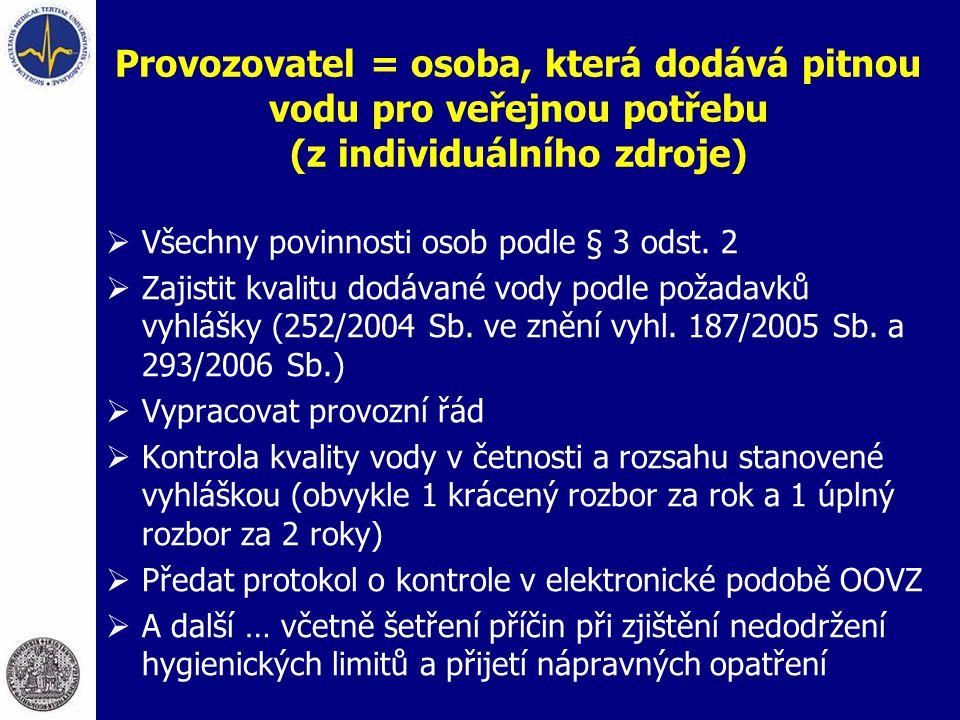 Provozovatel = osoba, která dodává pitnou vodu pro veřejnou potřebu (z individuálního zdroje)  Všechny povinnosti osob podle § 3 odst. 2  Zajistit k