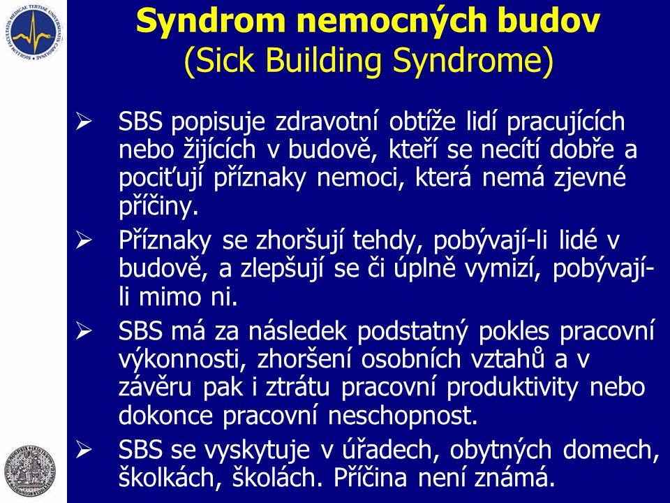 Syndrom nemocných budov (Sick Building Syndrome)  SBS popisuje zdravotní obtíže lidí pracujících nebo žijících v budově, kteří se necítí dobře a poci