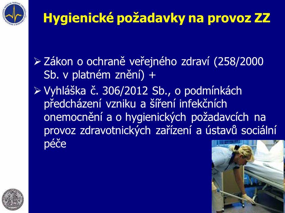 Hygienické požadavky na provoz ZZ  Zákon o ochraně veřejného zdraví (258/2000 Sb. v platném znění) +  Vyhláška č. 306/2012 Sb., o podmínkách předchá