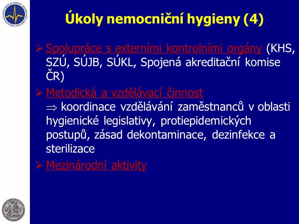 Úkoly nemocniční hygieny (4)  Spolupráce s externími kontrolními orgány (KHS, SZÚ, SÚJB, SÚKL, Spojená akreditační komise ČR)  Metodická a vzdělávac
