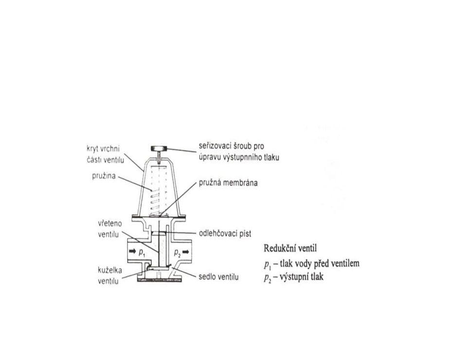 Armatury vnějších rozvodů Ostatní armatury Redukční ventily se používají u přiváděcích a zásobních řadů v úsecích rozdělujících jednotlivá tlaková pásma.
