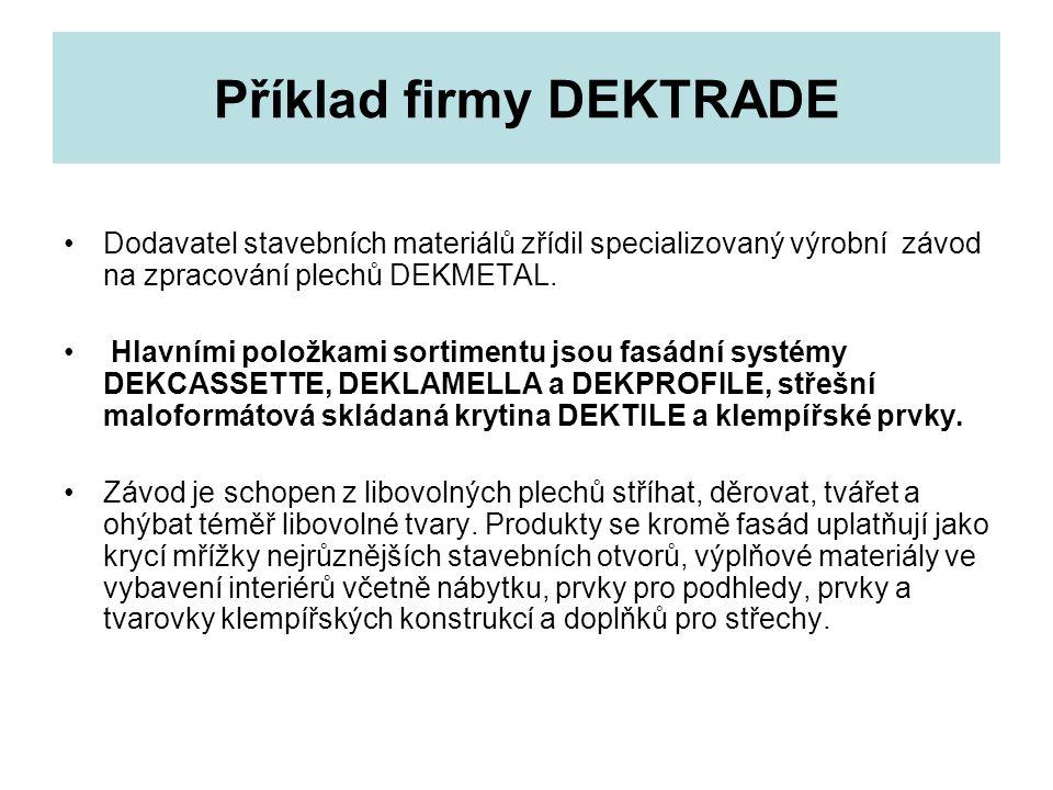 Příklad firmy DEKTRADE Dodavatel stavebních materiálů zřídil specializovaný výrobní závod na zpracování plechů DEKMETAL.