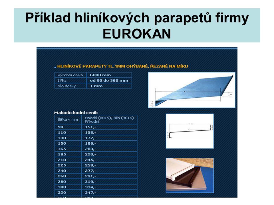 Příklad hliníkových parapetů firmy EUROKAN