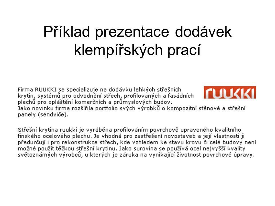 Příklad prezentace dodávek klempířských prací