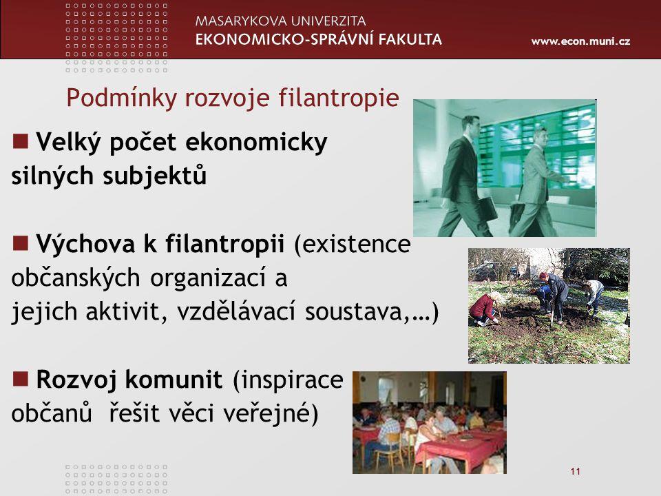 www.econ.muni.cz 11 Podmínky rozvoje filantropie Velký počet ekonomicky silných subjektů Výchova k filantropii (existence občanských organizací a jejich aktivit, vzdělávací soustava,…) Rozvoj komunit (inspirace občanů řešit věci veřejné)