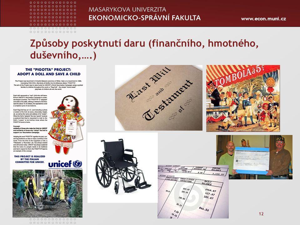 www.econ.muni.cz 12 Způsoby poskytnutí daru (finančního, hmotného, duševního,….)