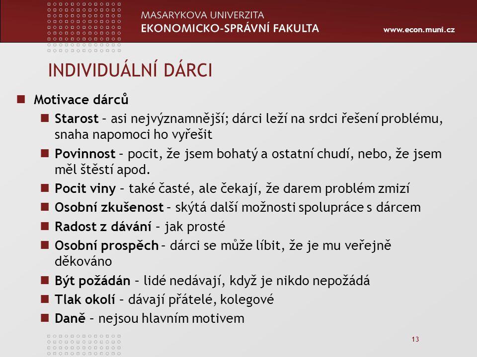 www.econ.muni.cz 13 INDIVIDUÁLNÍ DÁRCI Motivace dárců Starost – asi nejvýznamnější; dárci leží na srdci řešení problému, snaha napomoci ho vyřešit Povinnost – pocit, že jsem bohatý a ostatní chudí, nebo, že jsem měl štěstí apod.