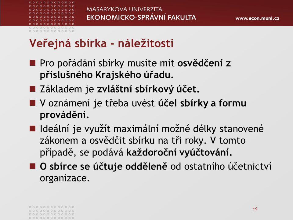 www.econ.muni.cz 19 Veřejná sbírka - náležitosti Pro pořádání sbírky musíte mít osvědčení z příslušného Krajského úřadu.