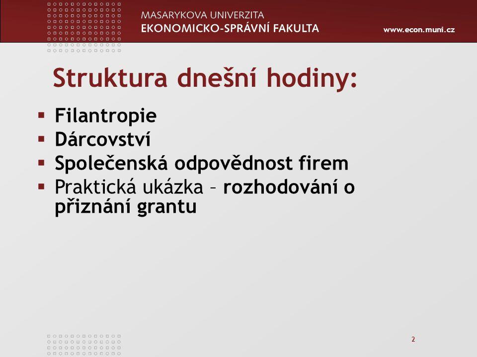 """www.econ.muni.cz 33 Pohled EU """"CSR – je dobrovolné integrování sociálních a ekologických hledisek do každodenních firemních operací a interakcí s firemními stakeholders (Trnková, 2004 dle Zelené knihy, 2001) podporuje tedy dobrovolný, nikoli povinný charakter společenské odpovědnosti firem!"""