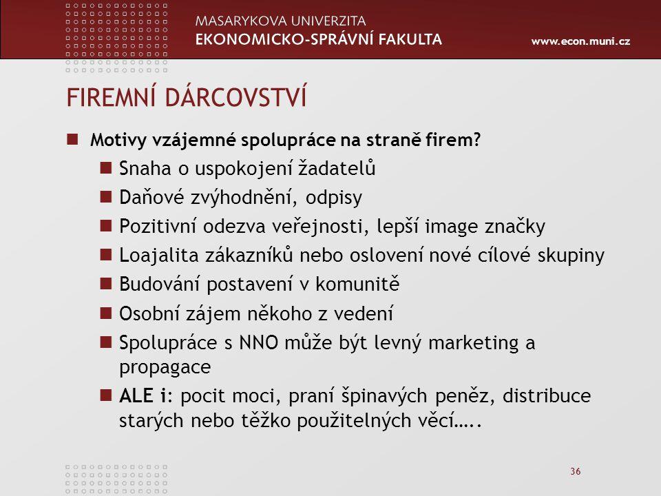 www.econ.muni.cz 36 FIREMNÍ DÁRCOVSTVÍ Motivy vzájemné spolupráce na straně firem.