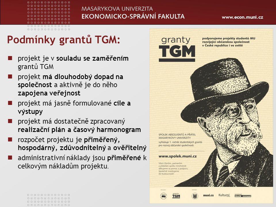 www.econ.muni.cz Podmínky grantů TGM: 44 projekt je v souladu se zaměřením grantů TGM projekt má dlouhodobý dopad na společnost a aktivně je do něho zapojena veřejnost projekt má jasně formulované cíle a výstupy projekt má dostatečně zpracovaný realizační plán a časový harmonogram rozpočet projektu je přiměřený, hospodárný, zdůvodnitelný a ověřitelný administrativní náklady jsou přiměřené k celkovým nákladům projektu.