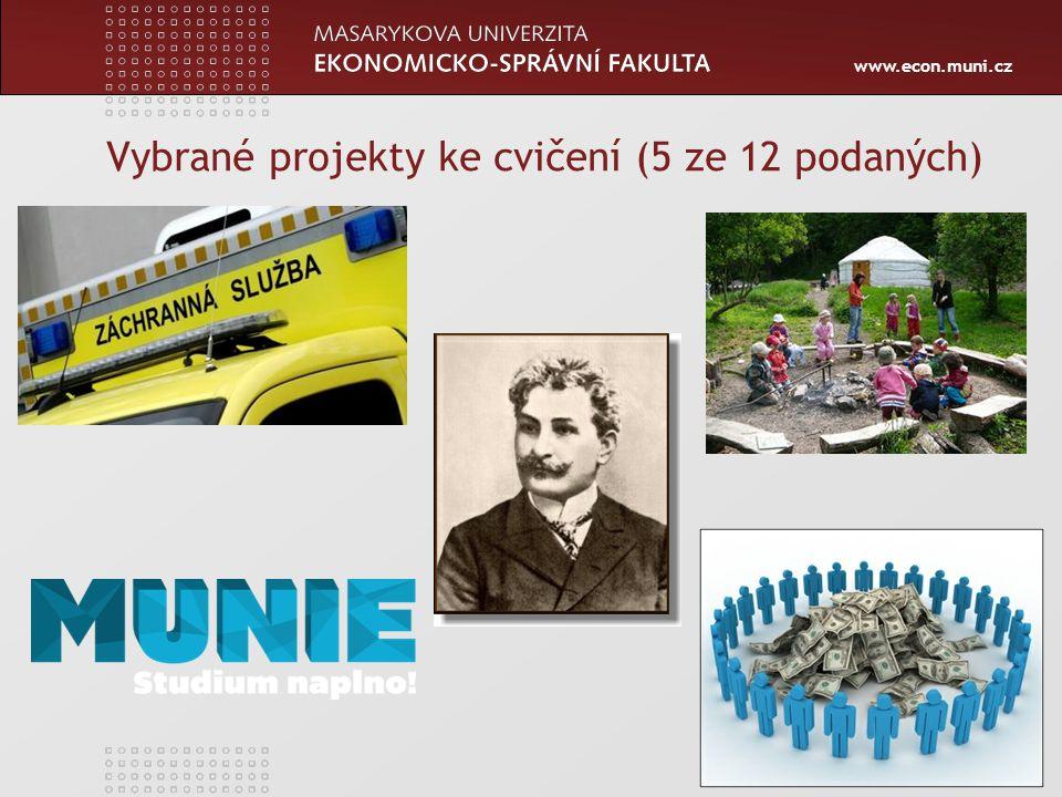 www.econ.muni.cz Vybrané projekty ke cvičení (5 ze 12 podaných) 45